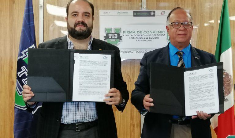 La UTec firma convenio de colaboración con la Comisión de Derechos Humanos del Estado de Hidalgo