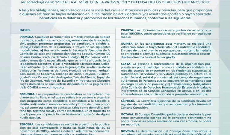 Emite CDHEH convocatoria para obtener medalla al mérito en promoción y defensa de los Derechos Humanos 2019