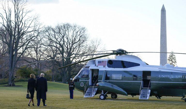 Donald Trump deja la Casa Blanca previo a la sucesión presidencial de Joe Biden