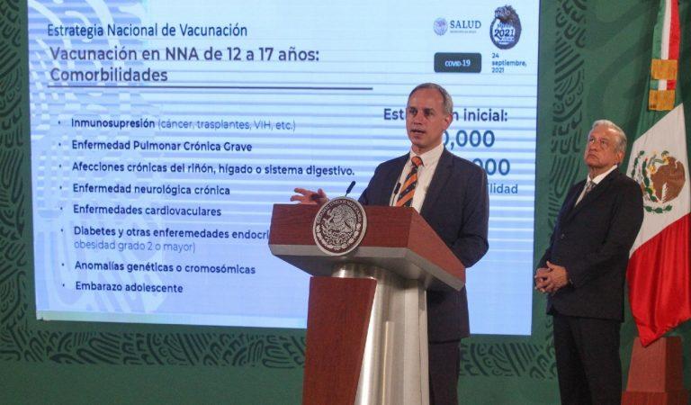 1 de octubre inicia registro para vacunación covid de 12 a 17 años con comorbilidades: López-Gatell